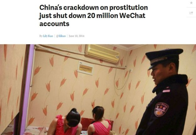 China crack down on prostitution with WeChat